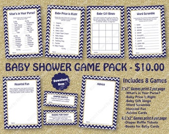 Baby Shower Game Pack Navy Blue Gold -75% OFF- PRINTABLE Baby Shower Games 8 Pack -Navy Blue Gold Glitter -Retro Art Deco Sparkle - 12-G43