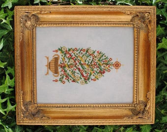 "Christmas Cross Stitch Instant Download Pattern ""Timeless Traditions"" Counted Embroidery Chart. Beaded Yule Tree.  X Stitch.X mas"