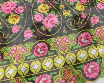 Vintage 60s 70s Border Print Fabric 3 Yards Sheer Floral Paisley Black Pink Green Yellow Print Retro Boho Hippie