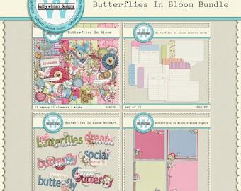 Scrapbook digital mariposas en paquete de floración