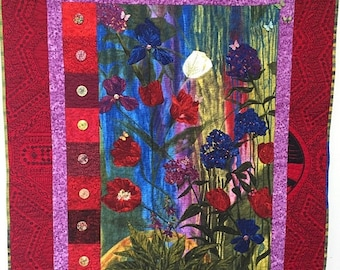 Hello Summer Sale Give Yourself a Thoughtful Flower 39x47 inch art quilt