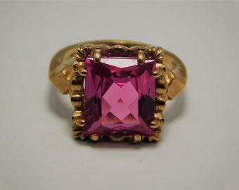 Large Pink Emerald  Topaz Ring 10K