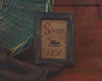 Primitive Mini Sleigh Sampler Cross Stitch E Pattern PDF