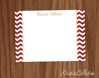 Personalized Flat Note Card Set - Custom Chevron Notecards - Personal Stationery Stationary - Thank You Notes - Gifts for Mom Teachers
