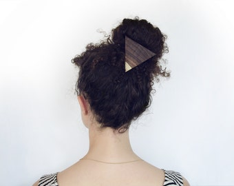 Wooden Hair Tie for Ponytails & Buns in Triangle