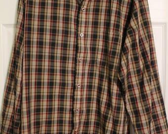 Vintage 1980's Club International Button Up Plaid Shirt - MEDIUM