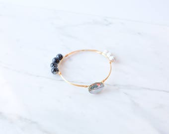 The Celeste Bangle - Navy Wire Wrapped Stone Bangles, Wire Wrapped Bracelet, Stone Bangle, Stone Bracelet, Stackable Bangles