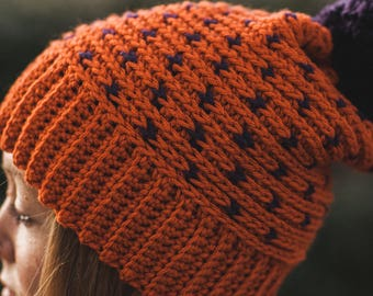 Crochet Beanie--Orange with Purple Hearts