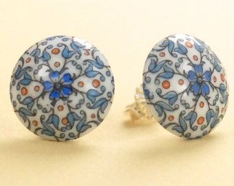 Vintage 1940s Blue Floral Post Earrings - One of a Kind