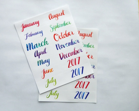 14 hand lettered water color calligraphy monthly sticker planner or bullet journal stickers transparent glossy stickers for a year 14i from