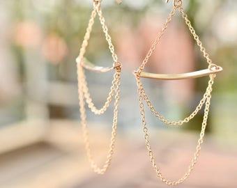 Gold Chandelier Earrings Minimal Gold Earrings Long Gold Earrings Simple Chandelier Earring