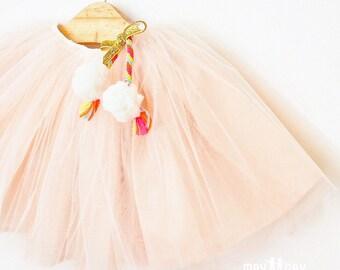 Old Rose Girl Tutu Skirt, Rose Gold Tulle Tutu Skirt, Flower Girl Tulle Skirt, Princess Costume, Pom Pom Girl Skirt, Fancy Dress Size 4T 5T
