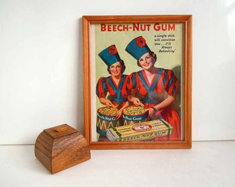 1930s Framed Picture Candy Advertisement Beech Nut Gum Twins
