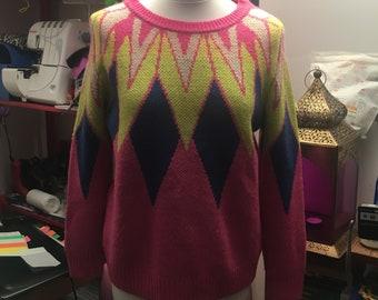 Vintage geometric knit pullover