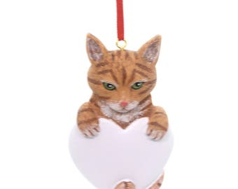 Tabby Cat Orange Hand Personalized Christmas Tree Ornament