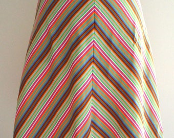 Vintage 70s Chevron Multicolour A-line Skirt Small