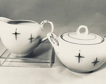 Fukagawa Arita Japan 713 Star Cross Creamer and Covered Sugar Bowl
