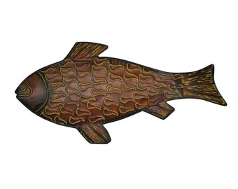 Large Metal Fish Wall Decoration - 2 ft - Home Decor - Decorative Tray - Brown Rust - Rustic Looking - Lake House - Fisherman Father's Day