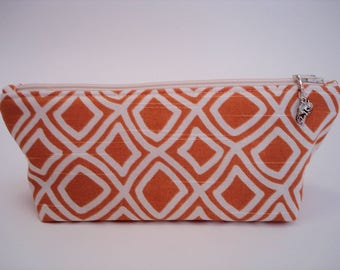 Makeup Bag Cosmetic Bag Cosmetic Brush Bag Zippered Pouch Travel Bag Organizer Clutch Toiletry Bag Orange and White Bag Purse Gift for Her