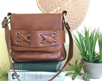 Boho Brown Leather Handbag, Shoulder Bag, Vintage Handbag, Purse