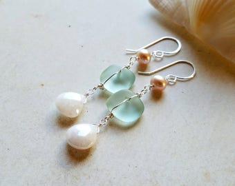 Aqua Beach Dangle Earrings, Long Beach Glass Dangle, Silverite Drop Earrings:  Ready Made