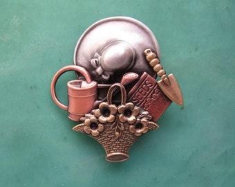 Gardeners Brooch- Gifts for Gardeners- Gardener Jewelry- Personal Gift- mixed metal jewelry