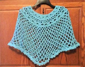 Crochet Seafoam Green Capelet Poncho