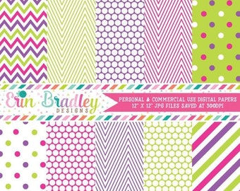 80% OFF SALE Pink Green & Purple Digital Paper Pack Commercial Use Graphics Instant Download
