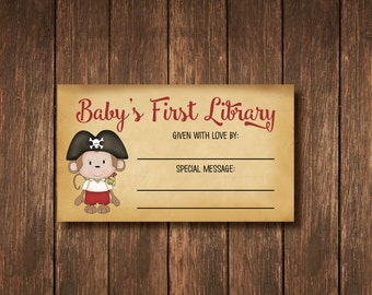 Book Label - Pirate Monkey Baby Shower - Instant Digital Download