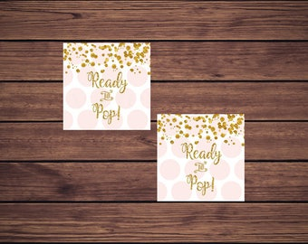 Pink and Gold Ready to Pop Favor Tags, Pink and Gold Favor Tags Instant Download Printable Favor Tags, Digital JPEG PDF203