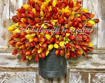 spring wreath - tulip wreaths  - summer wreaths - orange tulips wreath - frontdoor wreath - mothers day - rustic wreath door wreath