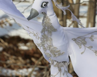 """42"""" Wingspan White Satin Snow Bird/Stork Stuffed Animal with Silver Lace Detailing"""