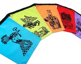Prayer Flags - Folktale Flags - Garden Flags - Peacock - Chicken - Hand Printed - Block Print - Garden Art