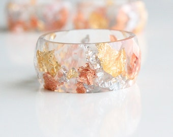 Resin Ring 3&1 Wide - wide faceted resin ring Flakes Jewelry Resin Jewelry Faceted Ring Modern Ring Gold Flakes Silver Flakes Copper Flakes