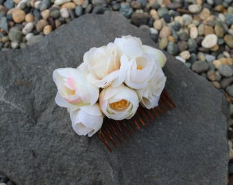 Peony and Rose Bridal Comb