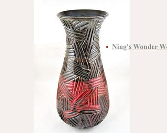 Pottery Vase, Stoneware Flower Vase Handmade brown and red Ceramic Vase Pottery - In stock 140 V