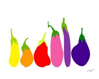 Kitchen Wall Art, Eggplant Print, Dining Room Decor, Vegetable Poster, Dining Room Art, Kitchen Posters, Kitchen Prints, Kitchen Art Prints