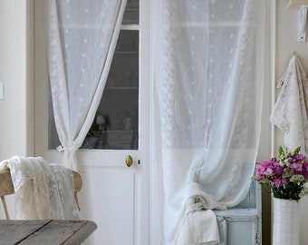 Pair Of Gorgeous Antique French Boho Curtains/Window Panel/Veil