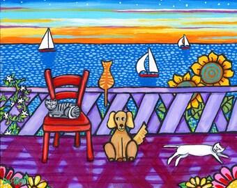 Cats and Dog Enjoy Sunset , Shelagh Duffett print