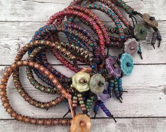 DIY Bracelet Kit - Zig Zag Bracelet Kit - Leather Beaded Friendship Bracelet - Crafty Gift Idea - Gift for Her - DIY Bracelet Supplies