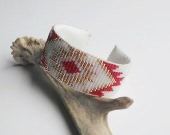 Beaded Cuff Bracelet, Native American Style Loom Beadwork Bracelet, Boho Seed Bead Bracelet, Gift For Her, Native Inspired Beaded Bracelet