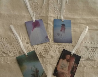 Set of 4 vintage labels / gift tags pastel / romantic tags