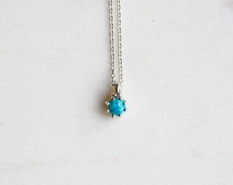 Small Turquoise Pendant Necklace in Sterling Silver, Bridal Jewelry, Minimalist Pendant, Delicate Necklace, Birthstone