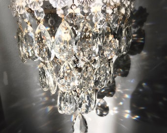 Antique Crystal Glass waterfall style Chandelier
