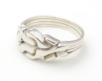 MAZE - Unique Puzzle Rings by PuzzleRingMaker - Sterling Silver or Gold - 4 Bands