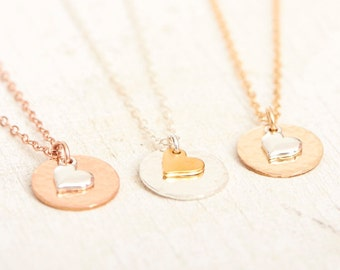 Heart Necklaces, Hammered Disc, Love Necklace, Mothers Day, Sterling Silver, Rose Gold, Gold, Mixed Metal, New Mom, Mother of Bride