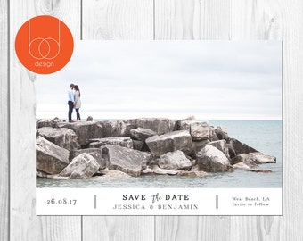 Save the Date photo Card save the date photo template printable photo card