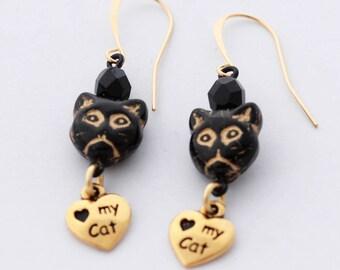Black Cat Earrings, I Love My Cat Earrings, Gold Kitty Cat Earrings, Black and Gold Earrings, Pet Lover Gift, Cat Lover Gift, Cat Owner Gift