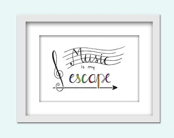 Music - digital download, hand lettering / typography print / PDF and JPG 7 different sizes