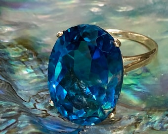 Estate London Blue Topaz Ring 17 Carat Oval Cut Solitaire Blue Ring 10K Gold Wedding Anniversary Engagement Ring Vintage